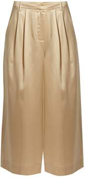 Tibi Mid-rise wide-leg cropped silk-satin trousers