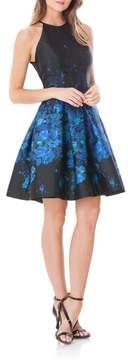 Carmen Marc Valvo Mesh Back Halter Fit & Flare Dress