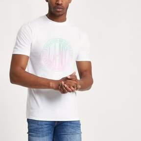 River Island Mens White ombre circle short sleeve T-shirt
