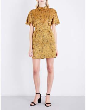 Claudie Pierlot High-neck face-pattern silk dress
