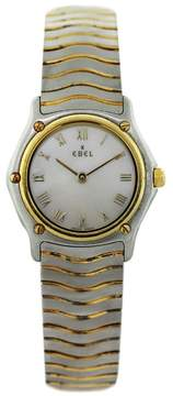 Ebel Wave Two Tone Stainless Steel and 18K Yellow Gold Mother of Pearl Roman Dial 26mm Womens Watch