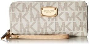 Michael Kors NEW Vanilla PVC Gold Jet Set Zip Around Travel Wallet Wristlet - VANILLA - STYLE