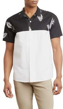 Kenneth Cole New York Reaction Kenneth Cole Tropical Leaves Half Blocked Shirt - Men's