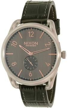 Nixon Men's A4652145 Grey Leather Swiss Quartz Dress Watch