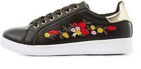 Charlotte Russe Qupid Floral Embroidered Sneakers