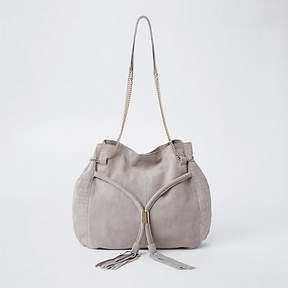 River Island Light grey leather chain slouch bag