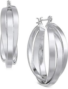 Essentials Silver Plated Small Multi-Ring Interlocked Hoop Earrings