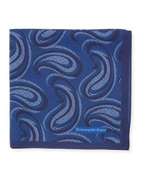 Ermenegildo Zegna Swirl Paisley Silk Pocket Square, Blue