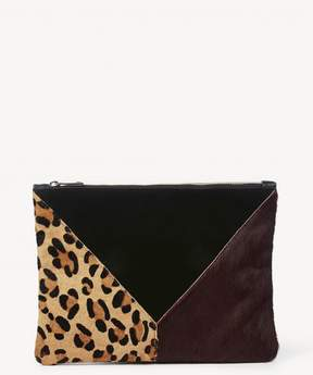 Sole Society Shailey Genuine Haircalf Patchwork Clutch