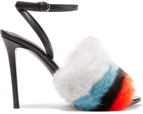 Marco De Vincenzo Leather And Striped Faux Fur Sandals - Black
