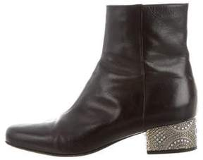 Dries Van Noten Leather Round-Toe Ankle Boots