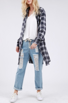 POL Navy Plaid Top