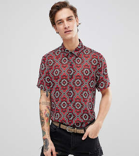Reclaimed Vintage Inspired Shirt In Red Baroque Print With Short Sleeves In Reg Fit