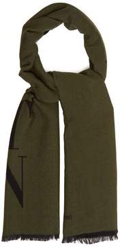 Valentino Logo-initialed wool-blend scarf