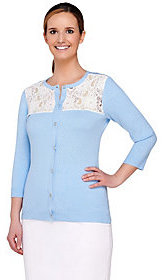 Denim & Co. As Is Crew Neck 3/4 Sleeve Cardigan with Lace Yoke