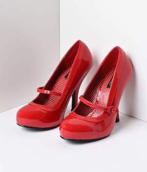 Unique Vintage Red Patent Leather Cutie Pie Pumps Shoes