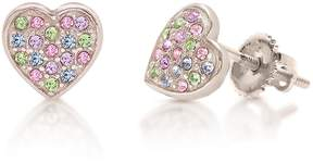 Swarovski Chanteur Jewelry 18K White Gold Plated Sterling Silver Pave Crystal Accented Heart Stud Earrings