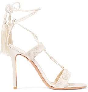 Etro Embroidered Lace And Satin Sandals - Ivory