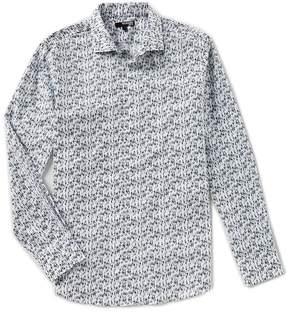 Murano Slim Long Sleeve Spread Collar Bobby Print Woven Shirt
