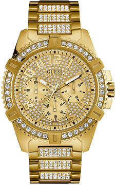GUESS Men's Crystal Gold-Tone Stainless Steel Bracelet Watch 46mm U0799G2