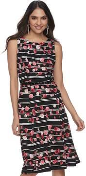 Elle Women's Floral Pleated Fit & Flare Dress