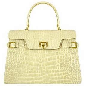 Fontanelli Shiny Sand Croco-style Leather Handbag