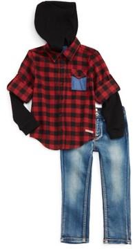 Hudson Toddler Boy's Hooded Flannel Shirt & Stretch Pants Set