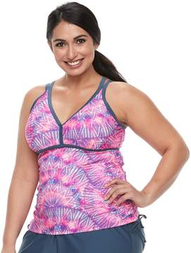 Free Country Plus Size Printed Double Strap Tankini Top