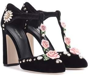 Dolce & Gabbana Embellished velvet pumps