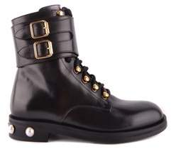 Pinko Women's Black Leather Ankle Boots.