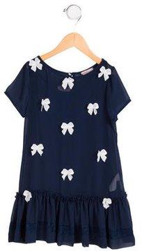 MonnaLisa Girls' Appliqué-Accented Short Sleeve Dress