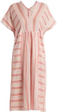 Masscob V-neck striped cotton dress