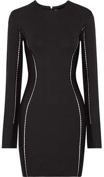Dion Lee Pointelle-trimmed Stretch-knit Mini Dress - Black
