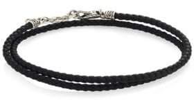John Hardy Sterling Silver & Leather Beaded Wrap Bracelet