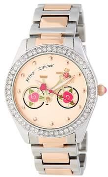 Betsey Johnson Women's Biking with Betsey Crystal Bracelet Watch