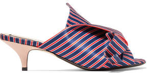 No.21 No. 21 - Knotted Striped Satin Mules - Blue