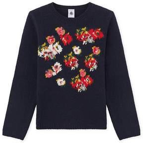 Petit Bateau Girl's jacquard pullover in a wool blend