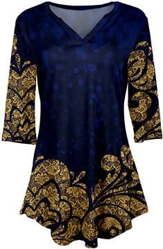 Azalea Blue & Gold Lace-Print V-Neck Tunic - Women & Plus