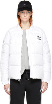 adidas White Down Superstar 3-Stripes Jacket