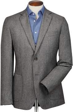 Charles Tyrwhitt Slim Fit Grey Puppytooth Italian Wool Flannel Wool Blazer Size 42