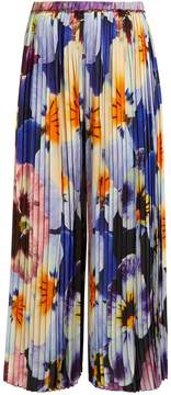 Christopher Kane Pansy-print pleated silk cropped trousers