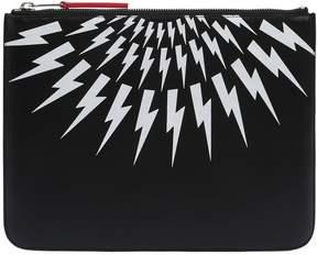 Neil Barrett Printed Bolts Zip Leather Tablet Holder