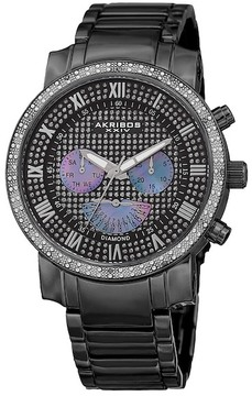 Akribos XXIV Men's Swiss Quartz Multi-Function Diamond Bracelet Watch - 0.06 ctw