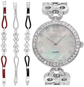 Croton Ladies Silvertone Mother of Pearl Dial Watch with Crystal Bezel & Bracelet Set