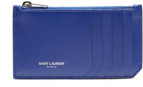 Saint Laurent Fragments leather cardholder - BLUE - STYLE