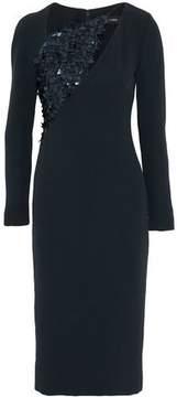 Cushnie et Ochs Sequined Tulle-Paneled Cutout Crepe Dress