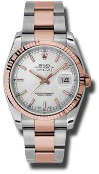 Rolex Oyster Perpetual Datejust 36 Silver Dial Stainless Steel and 18K Everose Gold Bracelet Automatic Men's Watch