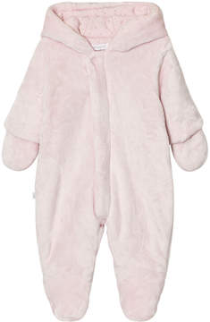 Absorba Pale Pink Faux Fur Pramsuit with Detachable Mittens
