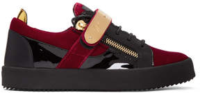 Giuseppe Zanotti Red and Black Velvet May London Sneakers