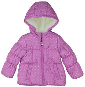 Osh Kosh Girls 4-6x Heavyweight Fleece-Lined Polka-Dot Printed Puffer Jacket